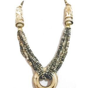Jewelry - Vintage Elephant Carved Bead and Bone Necklace